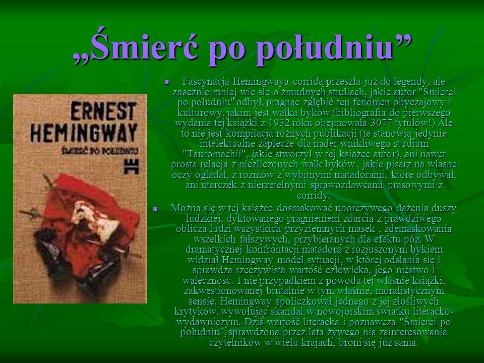 """""""Śmierć po południu Fascynacja Hemingwaya corridą przeszła już do legendy, ale znacznie mniej wie się o żmudnych studiach, jakie autor Śmierci po południu odbył, pragnąc zgłębić ten fenomen obyczajowy i kulturowy, jakim jest walka byków (bibliografia do pierwszego wydania tej książki z 1932 roku obejmowała 3077 tytułów!) Ale to nie jest kompilacja różnych publikacji (te stanowią jedynie intelektualne zaplecze dla nader wnikliwego studium Tauromachii , jakie stworzył w tej książce autor), ani nawet prosta relacja z niezliczonych walk byków, jakie pisarz na własne oczy ogladał, z rozmów z wybitnymi matadorami, które odbywał, ani utarczek z nierzetelnymi sprawozdawcami prasowymi z corridy."""