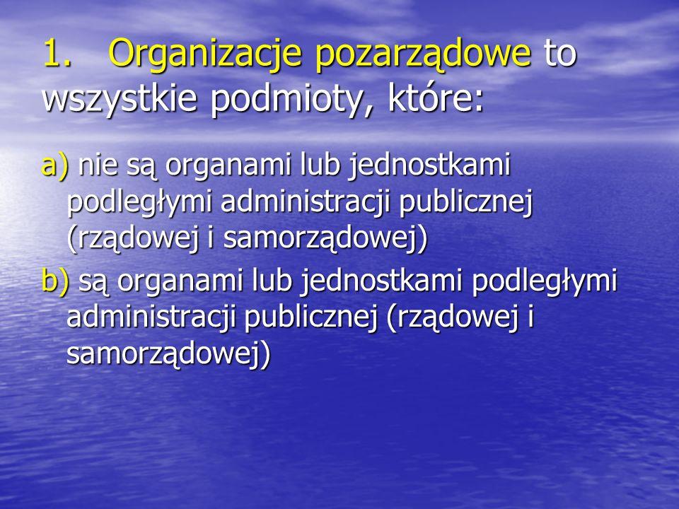 1. Organizacje pozarządowe to wszystkie podmioty, które: a) nie są organami lub jednostkami podległymi administracji publicznej (rządowej i samorządow