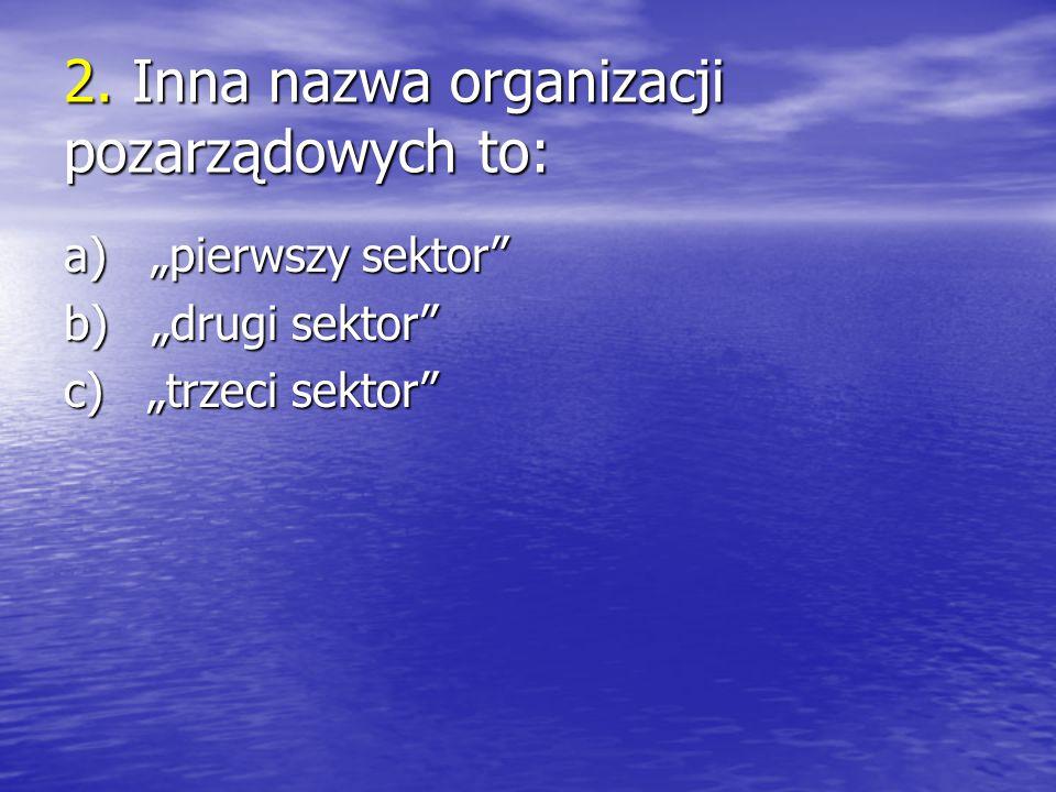 """2. Inna nazwa organizacji pozarządowych to: a) """"pierwszy sektor"""" b) """"drugi sektor"""" c) """"trzeci sektor"""""""