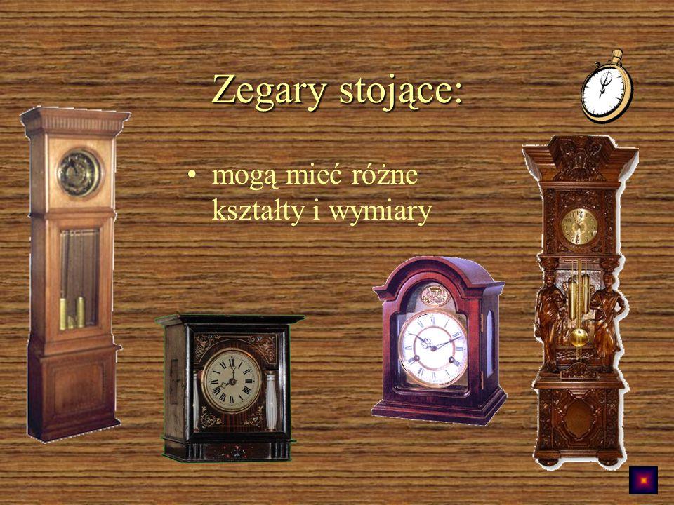 Zegary stojące: mogą mieć różne kształty i wymiary
