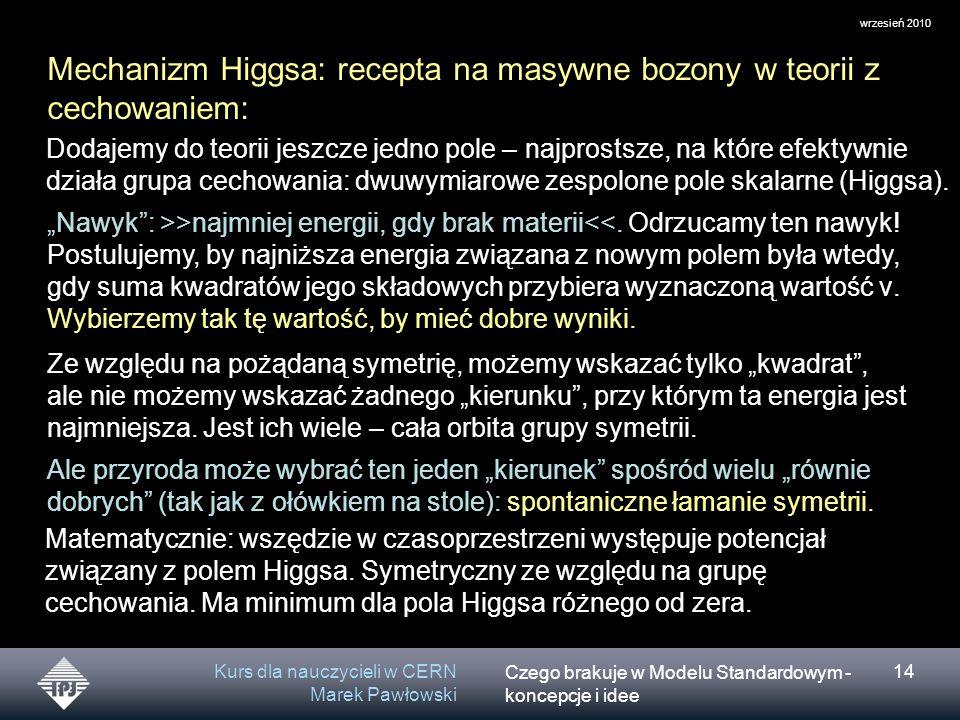 Czego brakuje w Modelu Standardowym - koncepcje i idee wrzesień 2010 Kurs dla nauczycieli w CERN Marek Pawłowski 14 Mechanizm Higgsa: recepta na masywne bozony w teorii z cechowaniem: Dodajemy do teorii jeszcze jedno pole – najprostsze, na które efektywnie działa grupa cechowania: dwuwymiarowe zespolone pole skalarne (Higgsa).