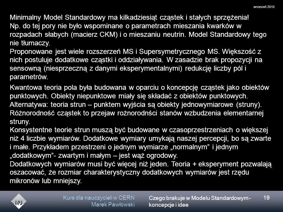 Czego brakuje w Modelu Standardowym - koncepcje i idee wrzesień 2010 Kurs dla nauczycieli w CERN Marek Pawłowski 19 Minimalny Model Standardowy ma kilkadziesiąt cząstek i stałych sprzężenia.