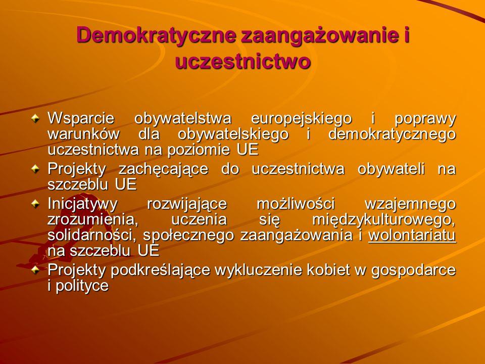 Demokratyczne zaangażowanie i uczestnictwo Wsparcie obywatelstwa europejskiego i poprawy warunków dla obywatelskiego i demokratycznego uczestnictwa na