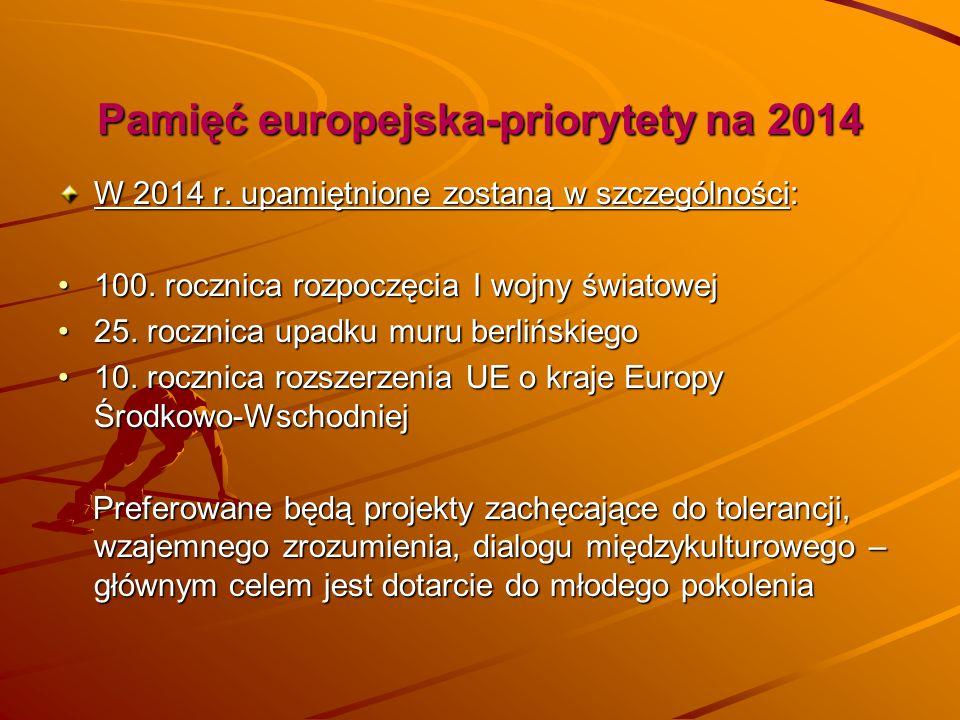 Pamięć europejska-priorytety na 2014 W 2014 r. upamiętnione zostaną w szczególności: 100. rocznica rozpoczęcia I wojny światowej100. rocznica rozpoczę