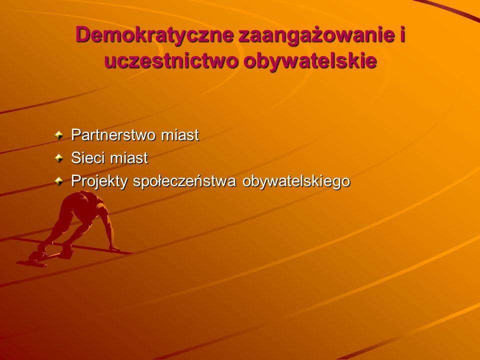 Demokratyczne zaangażowanie i uczestnictwo obywatelskie Partnerstwo miast Sieci miast Projekty społeczeństwa obywatelskiego