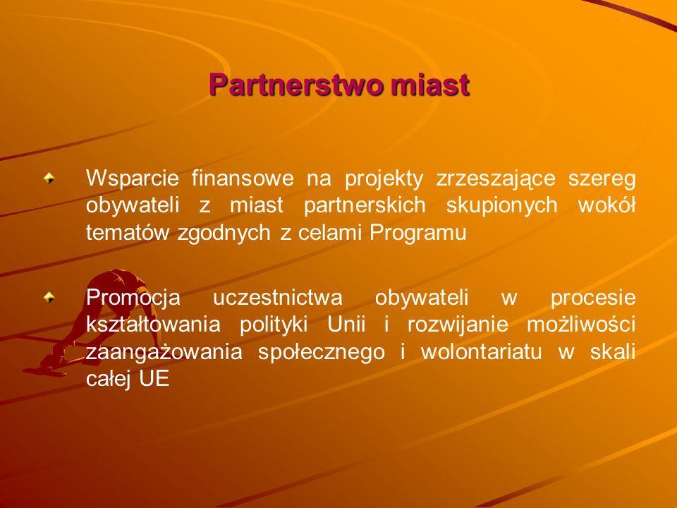 Partnerstwo miast Wsparcie finansowe na projekty zrzeszające szereg obywateli z miast partnerskich skupionych wokół tematów zgodnych z celami Programu
