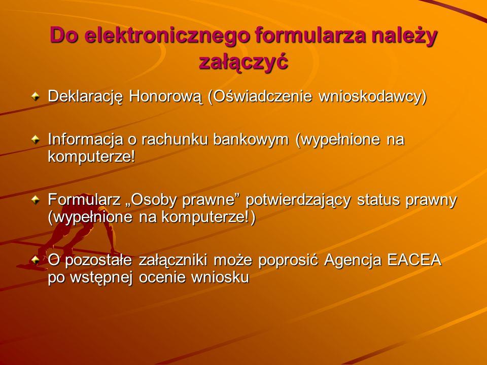 Do elektronicznego formularza należy załączyć Deklarację Honorową (Oświadczenie wnioskodawcy) Informacja o rachunku bankowym (wypełnione na komputerze