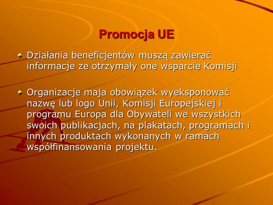 Promocja UE Działania beneficjentów muszą zawierać informacje ze otrzymały one wsparcie Komisji Organizacje maja obowiązek wyeksponować nazwę lub logo