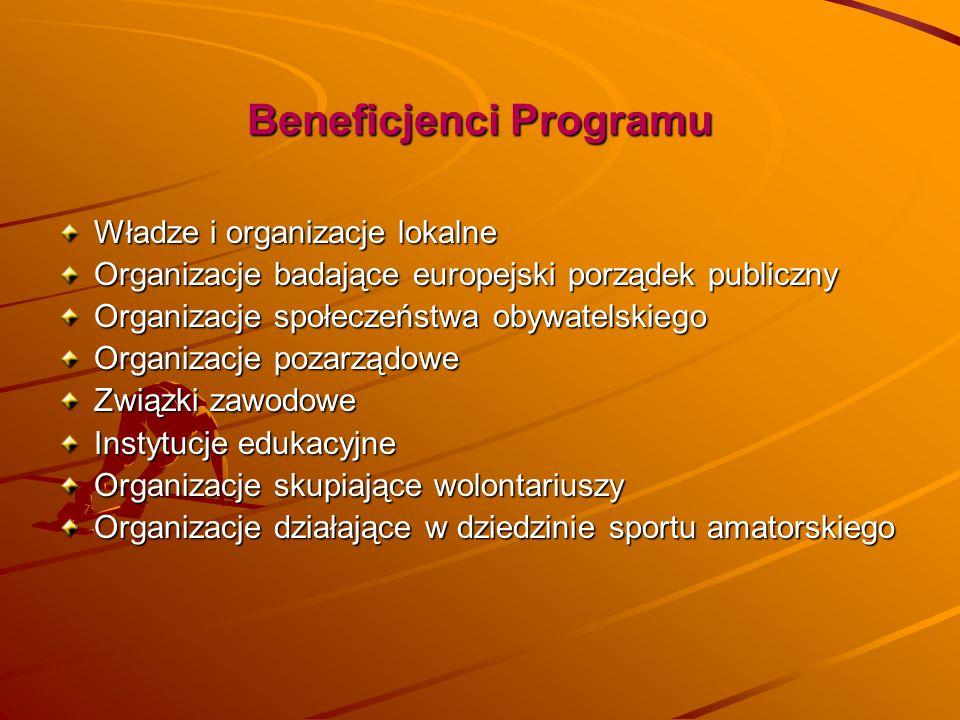 Beneficjenci Programu Władze i organizacje lokalne Organizacje badające europejski porządek publiczny Organizacje społeczeństwa obywatelskiego Organiz