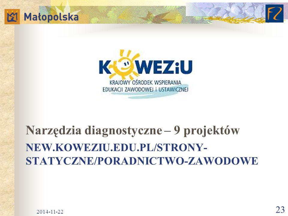 NEW.KOWEZIU.EDU.PL/STRONY- STATYCZNE/PORADNICTWO-ZAWODOWE Narzędzia diagnostyczne – 9 projektów 2014-11-22 23