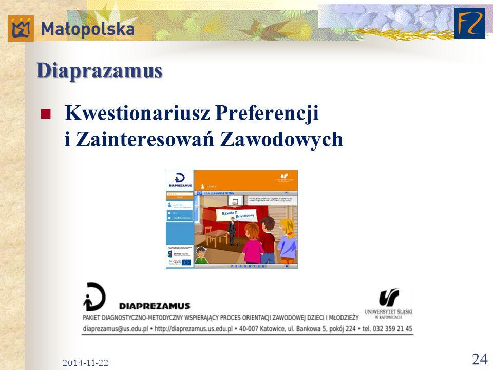 Diaprazamus Kwestionariusz Preferencji i Zainteresowań Zawodowych 2014-11-22 24