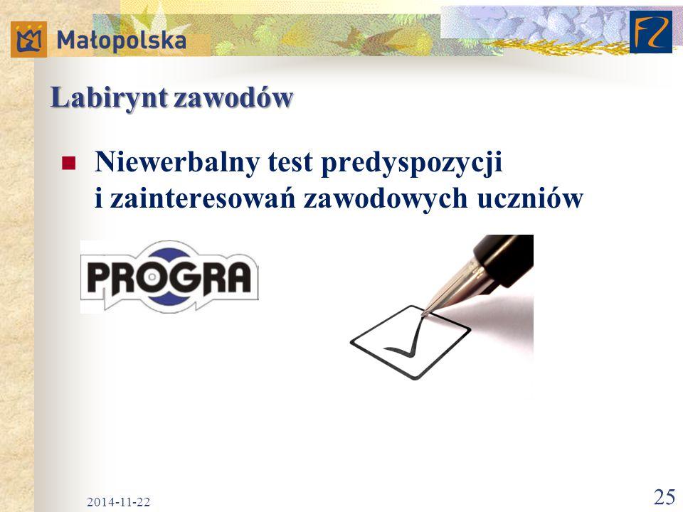 Labirynt zawodów Niewerbalny test predyspozycji i zainteresowań zawodowych uczniów 2014-11-22 25
