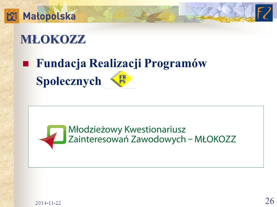MŁOKOZZ Fundacja Realizacji Programów Społecznych 2014-11-22 26