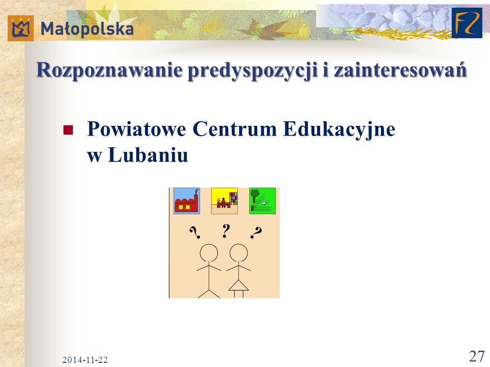Rozpoznawanie predyspozycji i zainteresowań Powiatowe Centrum Edukacyjne w Lubaniu 2014-11-22 27
