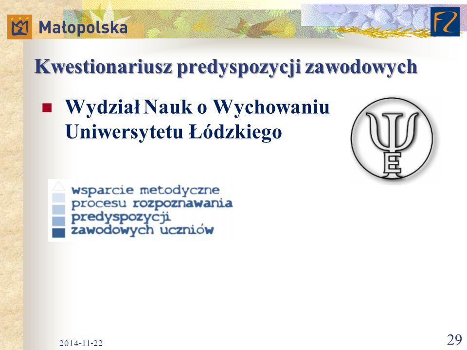 Kwestionariusz predyspozycji zawodowych Wydział Nauk o Wychowaniu Uniwersytetu Łódzkiego 2014-11-22 29