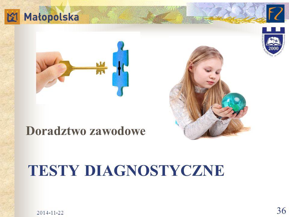 TESTY DIAGNOSTYCZNE Doradztwo zawodowe 2014-11-22 36