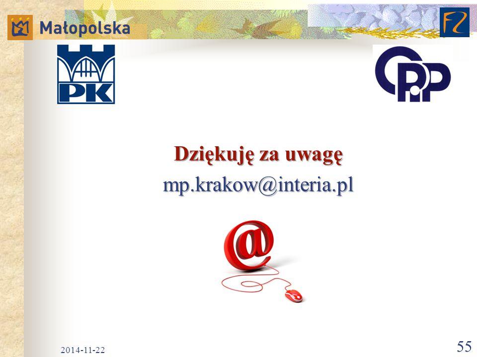 Dziękuję za uwagę mp.krakow@interia.pl 2014-11-22 55