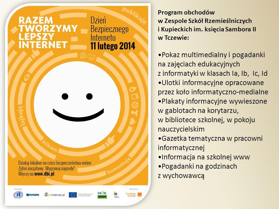Program obchodów w Zespole Szkół Rzemieślniczych i Kupieckich im. księcia Sambora II w Tczewie: Pokaz multimedialny i pogadanki na zajęciach edukacyjn
