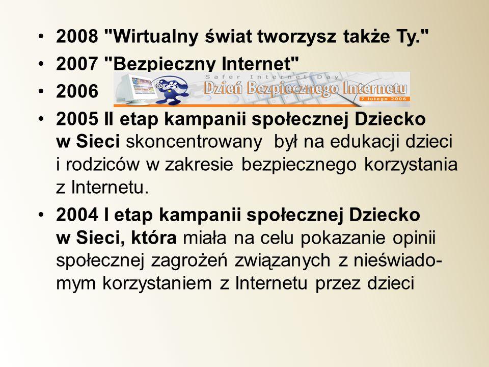 2008 Wirtualny świat tworzysz także Ty. 2007 Bezpieczny Internet 2006 2005 II etap kampanii społecznej Dziecko w Sieci skoncentrowany był na edukacji dzieci i rodziców w zakresie bezpiecznego korzystania z Internetu.