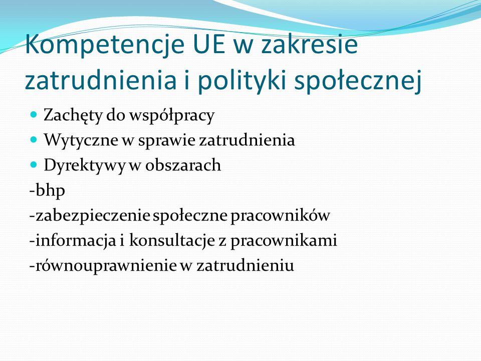 Kompetencje UE w zakresie zatrudnienia i polityki społecznej Zachęty do współpracy Wytyczne w sprawie zatrudnienia Dyrektywy w obszarach -bhp -zabezpieczenie społeczne pracowników -informacja i konsultacje z pracownikami -równouprawnienie w zatrudnieniu
