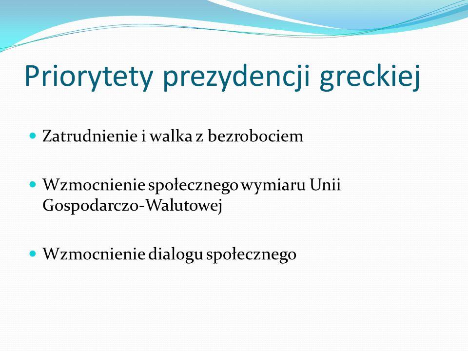 Priorytety prezydencji greckiej Zatrudnienie i walka z bezrobociem Wzmocnienie społecznego wymiaru Unii Gospodarczo-Walutowej Wzmocnienie dialogu społ