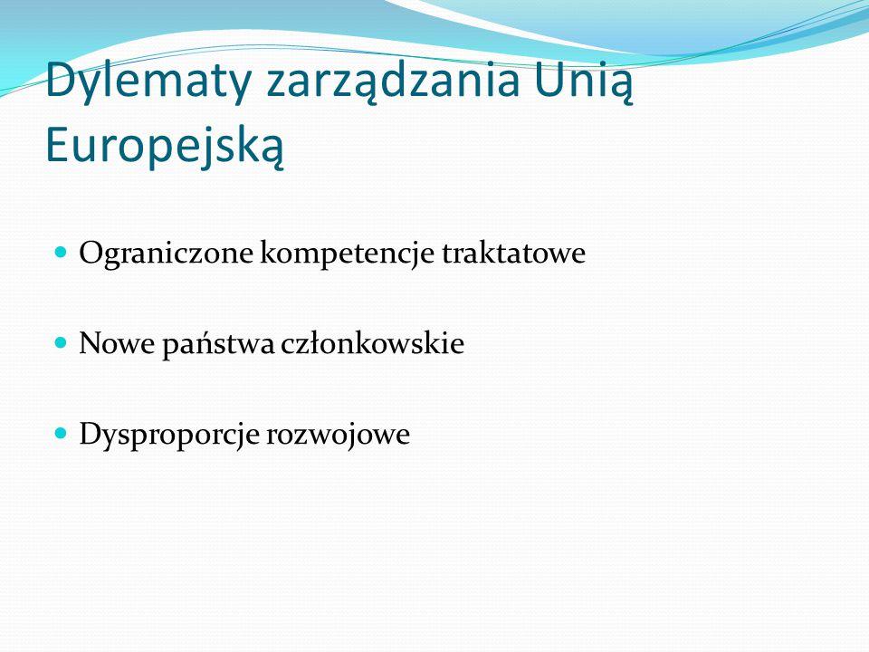 Dylematy zarządzania Unią Europejską Ograniczone kompetencje traktatowe Nowe państwa członkowskie Dysproporcje rozwojowe