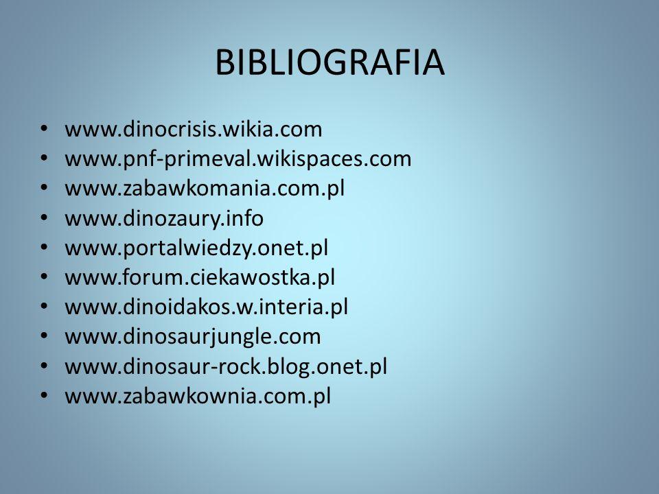 www.dinocrisis.wikia.com www.pnf-primeval.wikispaces.com www.zabawkomania.com.pl www.dinozaury.info www.portalwiedzy.onet.pl www.forum.ciekawostka.pl
