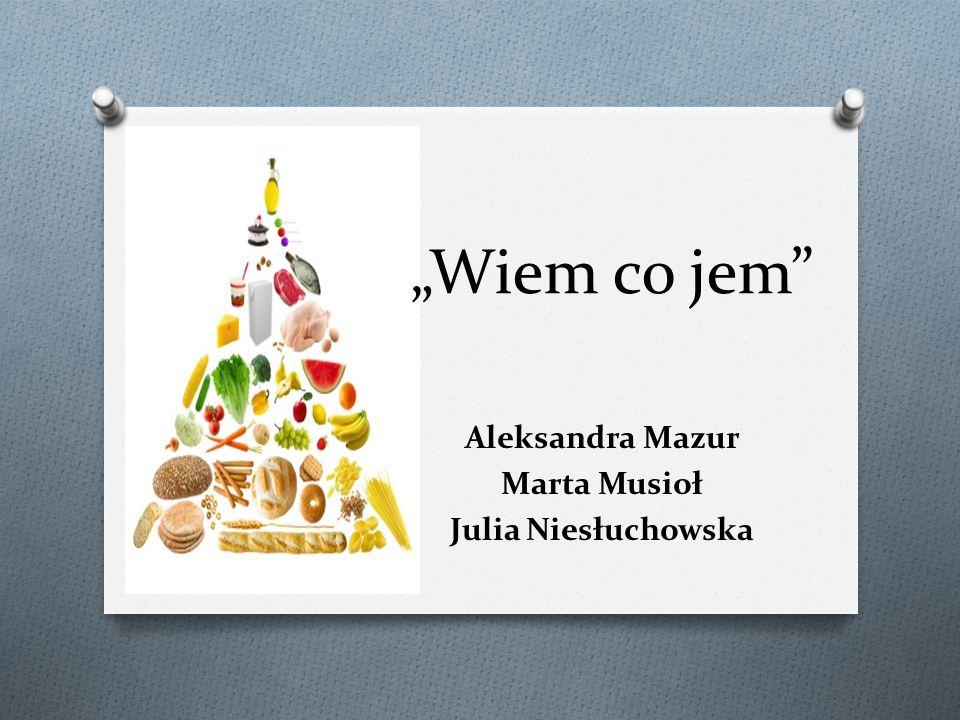 """""""Wiem co jem"""" Aleksandra Mazur Marta Musioł Julia Niesłuchowska"""