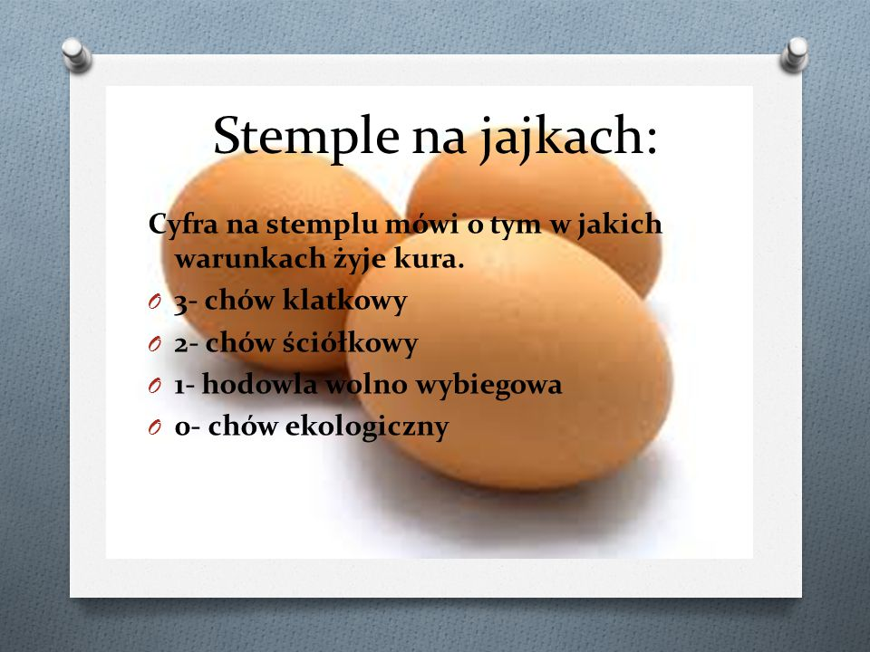 Stemple na jajkach: Cyfra na stemplu mówi o tym w jakich warunkach żyje kura. O 3- chów klatkowy O 2- chów ściółkowy O 1- hodowla wolno wybiegowa O 0-