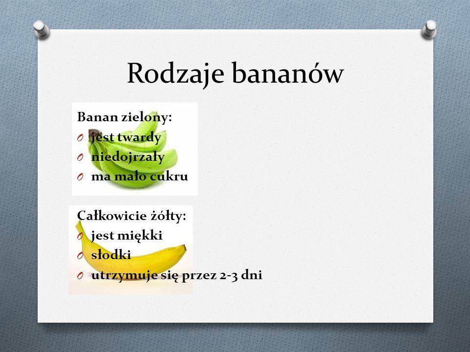 Banan Brązowe plamki na bananie świadczą o tym, że banan jest w najlepszym okresie do spożycia, dlatego, że w zielonym bananie stosunek skrobi do cukru wynosi 20:1, a w bananie z brązowymi kropkami wynosi 1:20, taki banan to sama słodycz.