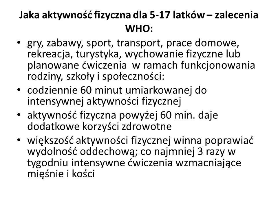 Jaka aktywność fizyczna dla 5-17 latków – zalecenia WHO: gry, zabawy, sport, transport, prace domowe, rekreacja, turystyka, wychowanie fizyczne lub pl