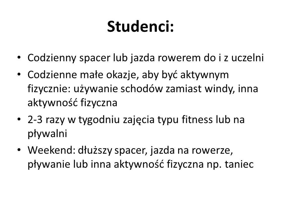 Studenci: Codzienny spacer lub jazda rowerem do i z uczelni Codzienne małe okazje, aby być aktywnym fizycznie: używanie schodów zamiast windy, inna ak