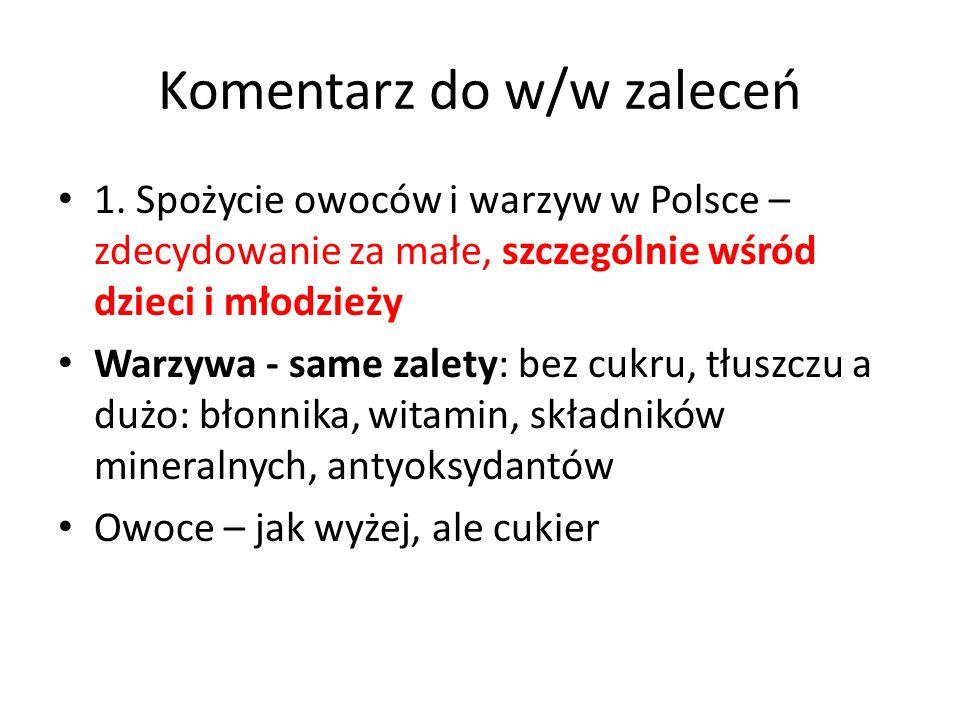 Komentarz do w/w zaleceń 1. Spożycie owoców i warzyw w Polsce – zdecydowanie za małe, szczególnie wśród dzieci i młodzieży Warzywa - same zalety: bez