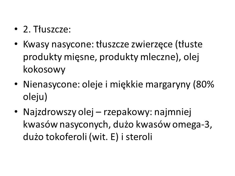 2. Tłuszcze: Kwasy nasycone: tłuszcze zwierzęce (tłuste produkty mięsne, produkty mleczne), olej kokosowy Nienasycone: oleje i miękkie margaryny (80%