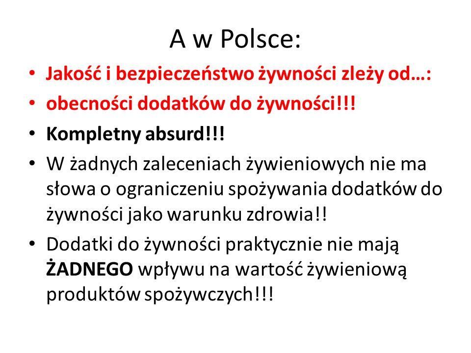 A w Polsce: Jakość i bezpieczeństwo żywności zleży od…: obecności dodatków do żywności!!! Kompletny absurd!!! W żadnych zaleceniach żywieniowych nie m