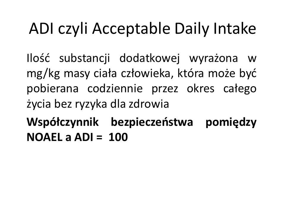 ADI czyli Acceptable Daily Intake Ilość substancji dodatkowej wyrażona w mg/kg masy ciała człowieka, która może być pobierana codziennie przez okres c