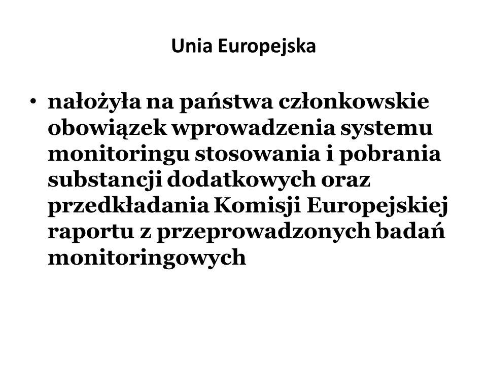 Unia Europejska nałożyła na państwa członkowskie obowiązek wprowadzenia systemu monitoringu stosowania i pobrania substancji dodatkowych oraz przedkła