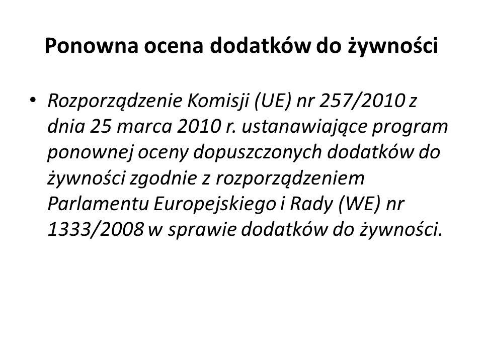 Ponowna ocena dodatków do żywności Rozporządzenie Komisji (UE) nr 257/2010 z dnia 25 marca 2010 r. ustanawiające program ponownej oceny dopuszczonych
