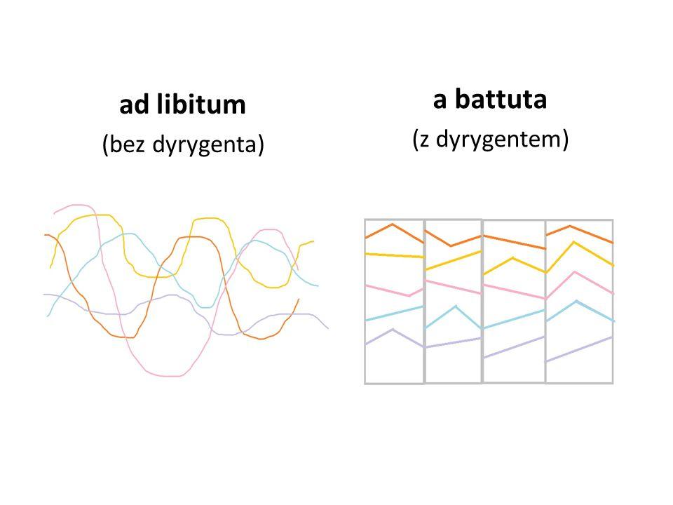 ad libitum (bez dyrygenta) a battuta (z dyrygentem)