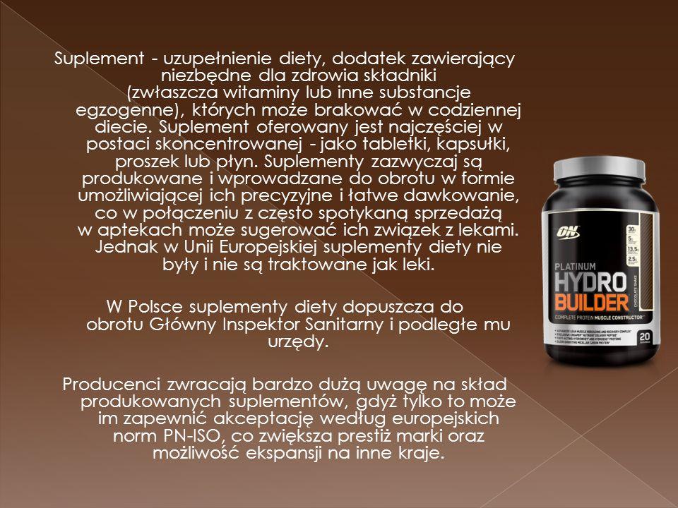 Suplement - uzupełnienie diety, dodatek zawierający niezbędne dla zdrowia składniki (zwłaszcza witaminy lub inne substancje egzogenne), których może brakować w codziennej diecie.