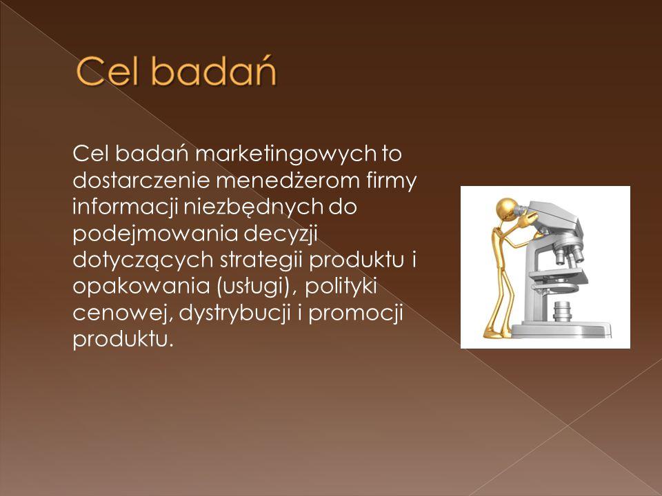 Cel badań marketingowych to dostarczenie menedżerom firmy informacji niezbędnych do podejmowania decyzji dotyczących strategii produktu i opakowania (usługi), polityki cenowej, dystrybucji i promocji produktu.