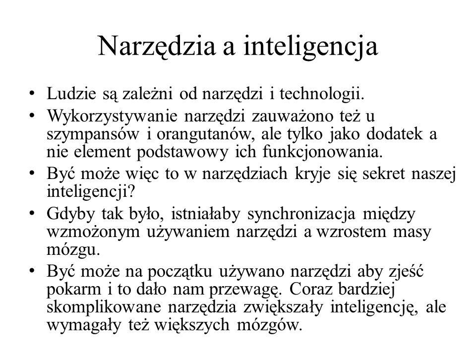Narzędzia a inteligencja Ludzie są zależni od narzędzi i technologii.