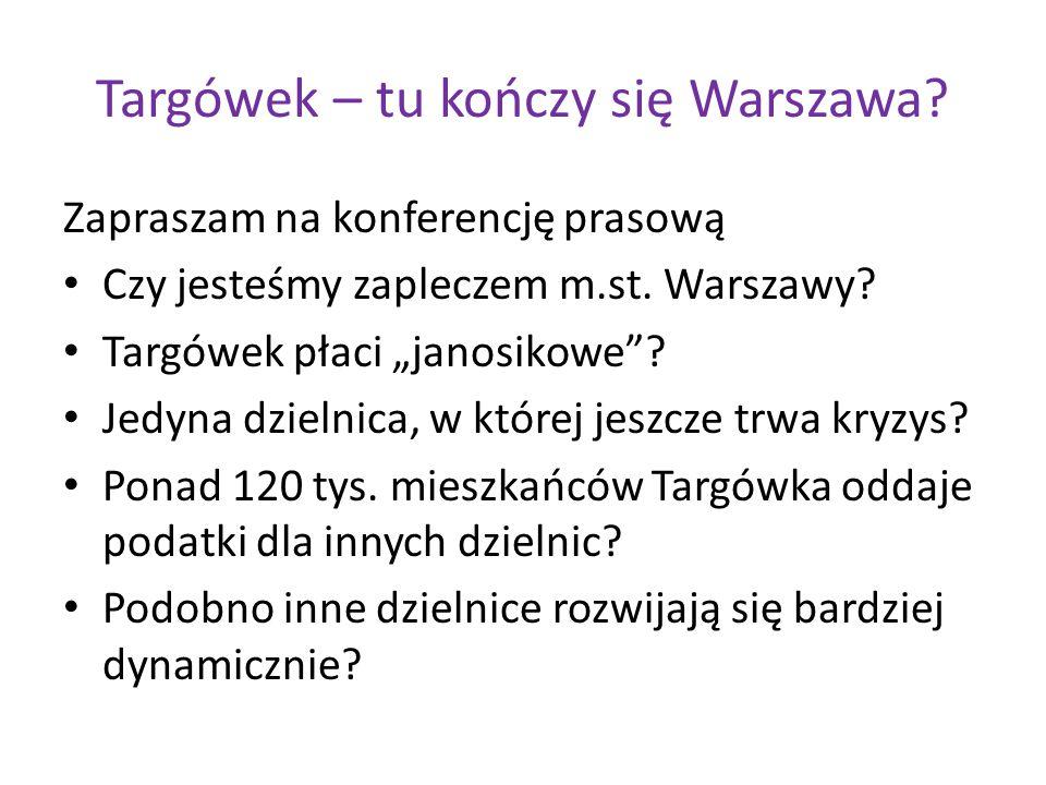 """Targówek – tu kończy się Warszawa? Zapraszam na konferencję prasową Czy jesteśmy zapleczem m.st. Warszawy? Targówek płaci """"janosikowe""""? Jedyna dzielni"""
