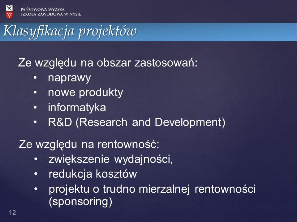 12 Ze względu na obszar zastosowań: naprawy nowe produkty informatyka R&D (Research and Development) Ze względu na rentowność: zwiększenie wydajności, redukcja kosztów projektu o trudno mierzalnej rentowności (sponsoring) Klasyfikacja projektów