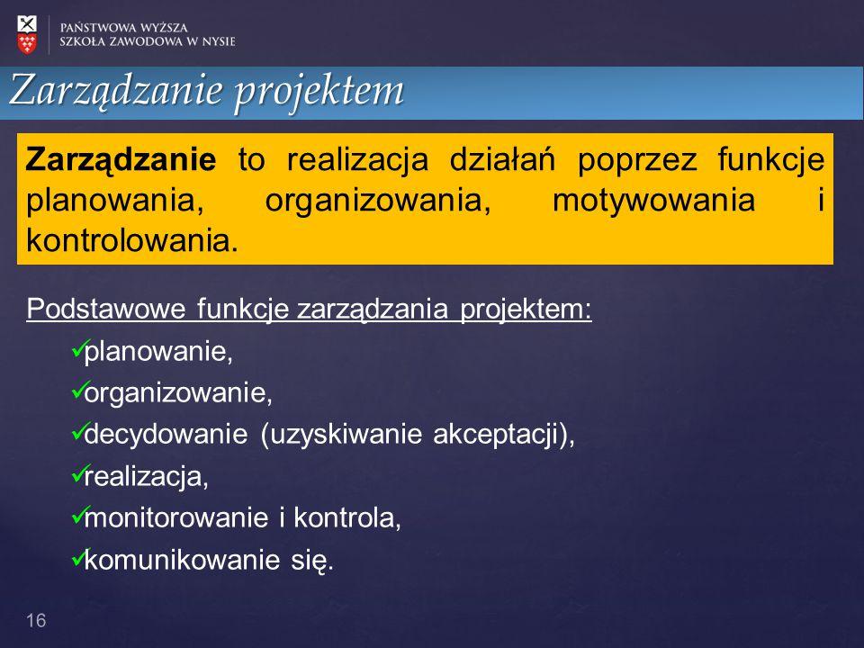 16 Zarządzanie projektem Zarządzanie to realizacja działań poprzez funkcje planowania, organizowania, motywowania i kontrolowania. Podstawowe funkcje