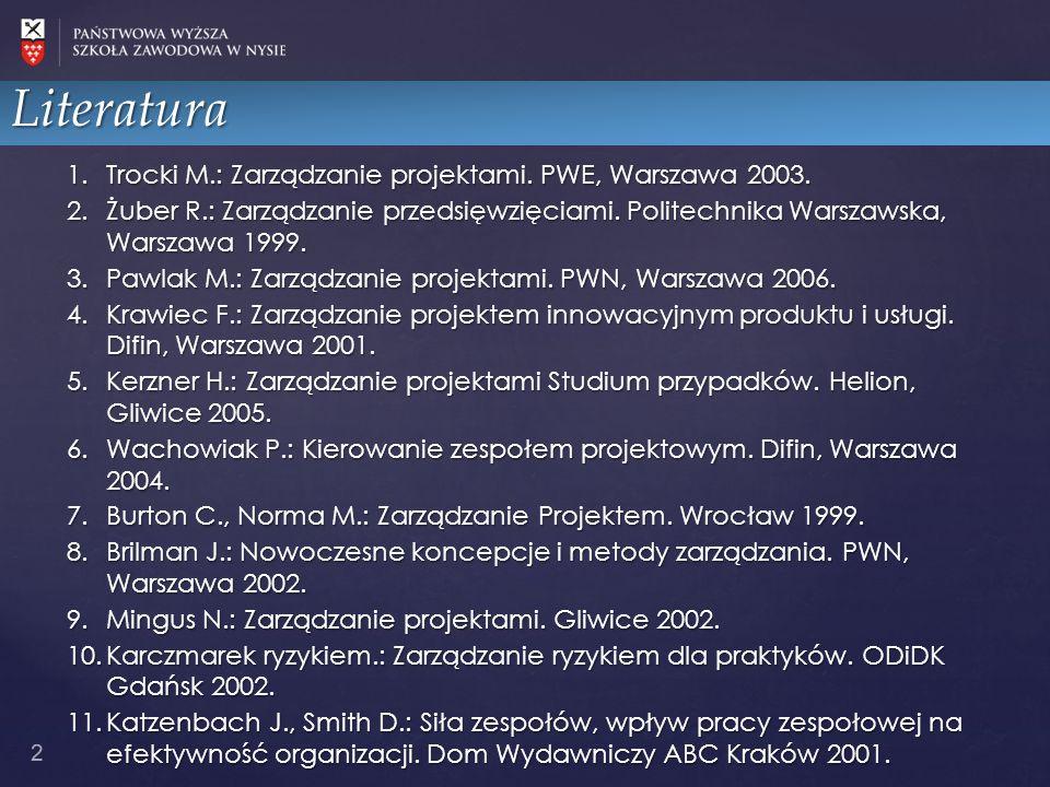 1.Trocki M.: Zarządzanie projektami. PWE, Warszawa 2003. 2.Żuber R.: Zarządzanie przedsięwzięciami. Politechnika Warszawska, Warszawa 1999. 3.Pawlak M