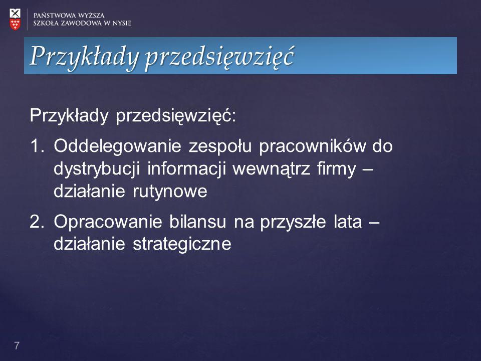 8 ProjektCechyOpis Zmiana sposobu dystrybucji informacji np.