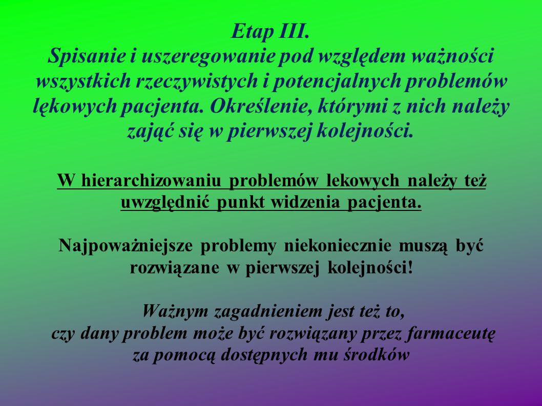 Etap III. Spisanie i uszeregowanie pod względem ważności wszystkich rzeczywistych i potencjalnych problemów lękowych pacjenta. Określenie, którymi z n
