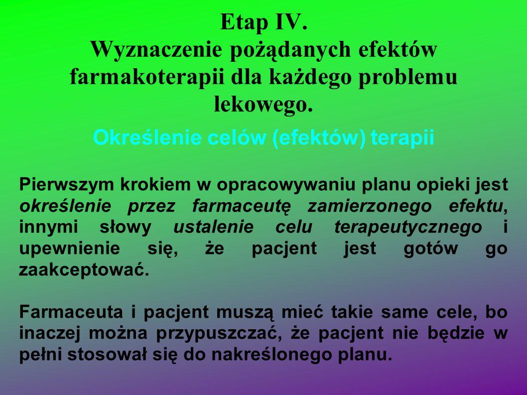 Etap IV. Wyznaczenie pożądanych efektów farmakoterapii dla każdego problemu lekowego. Określenie celów (efektów) terapii Pierwszym krokiem w opracowyw