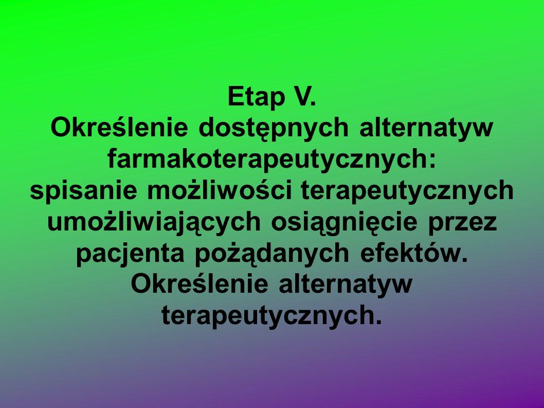 Etap V. Określenie dostępnych alternatyw farmakoterapeutycznych: spisanie możliwości terapeutycznych umożliwiających osiągnięcie przez pacjenta pożąda